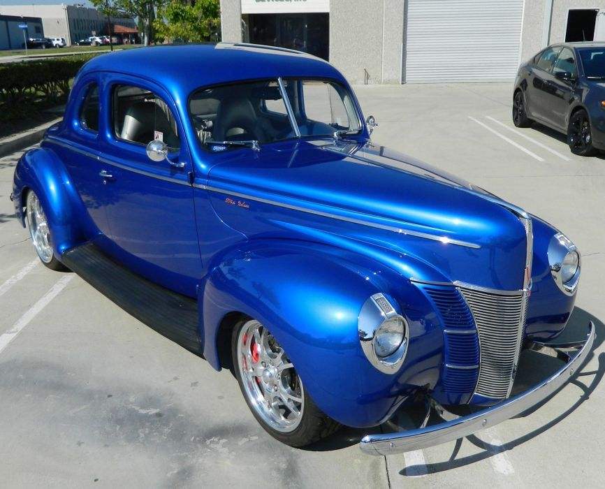 1940 Ford Deluxe Coupe Street Rod Hotrod Hot Blue USA 1900x1536-01 wallpaper