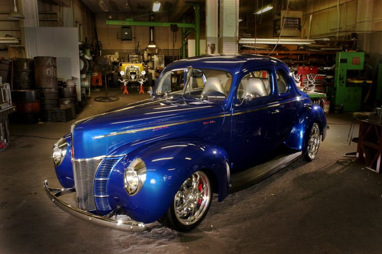 1940 Ford Deluxe Coupe Street Rod Hotrod Hot Blue USA 3000x2000-05 wallpaper