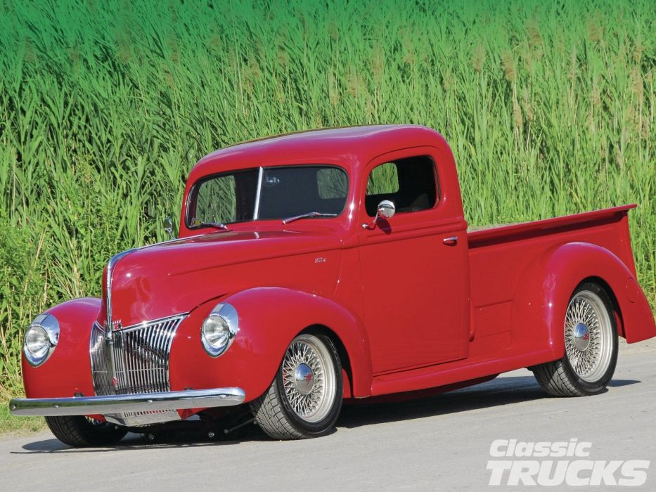 1940 Ford Pickup Hotrod Streetrod Hot Rod Street Red Low USA 1600x1200-01 wallpaper
