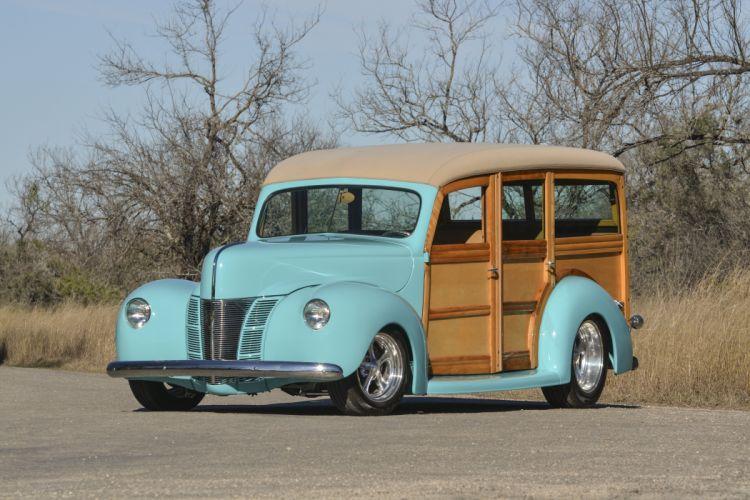 1940 Ford Deluxe Woody Wagon Hotrod Streetrod Hot Rod Street USA 4096x2700-01 wallpaper