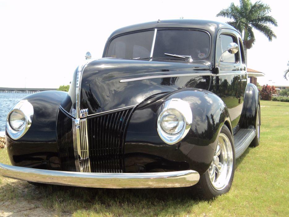 1940 Ford Tudor Deluxe Sedan Two Door Black Hotrod Streetrod Hot Rod Street USA 2592x1944-03 wallpaper
