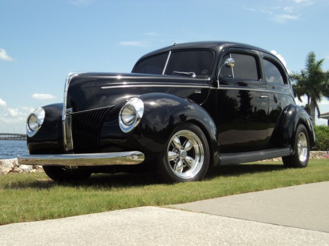 1940 Ford Tudor Deluxe Sedan Two Door Black Hotrod Streetrod Hot Rod Street USA 2592x1944-02 wallpaper
