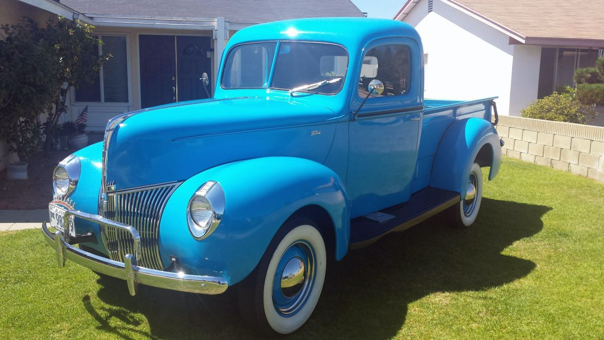 1941 Ford Pickup Blue Classic Old Vintage USA 2096x1741-03 wallpaper