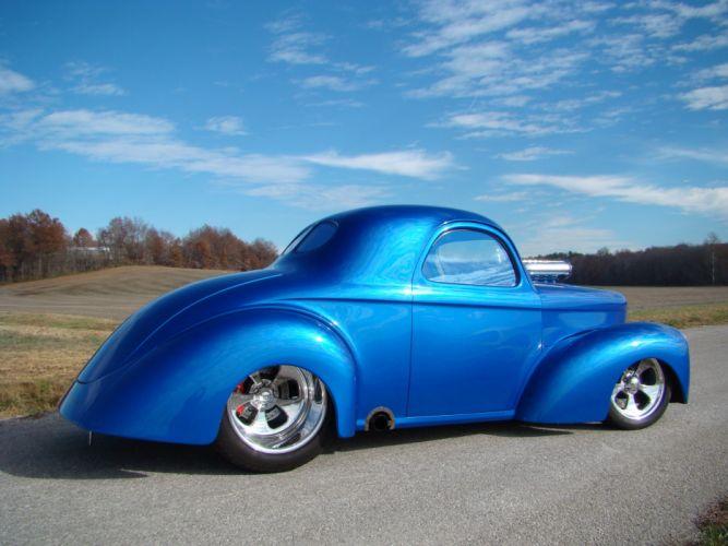 1941 Willys Coupe Candy Blue Hotrod Streetrod Hot Rod Street USA 2048x1530-14 wallpaper