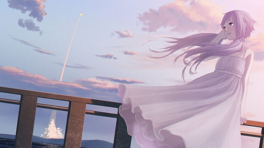 clouds dress long hair purple hair scenic sky summer dress twintails vocaloid water yue (yueanh) yuzuki yukari wallpaper