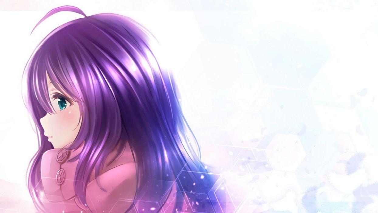 green eyes idolmaster idolmaster million live! ima (lm ew) long hair mochizuki anna purple hair wallpaper