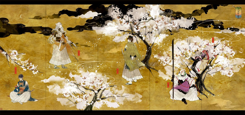 group ima-no-tsurugi ishikirimaru iwatooshi japanese clothes katana kogitsunemaru naga-no polychromatic signed spear sword touken ranbu tree weapon wallpaper