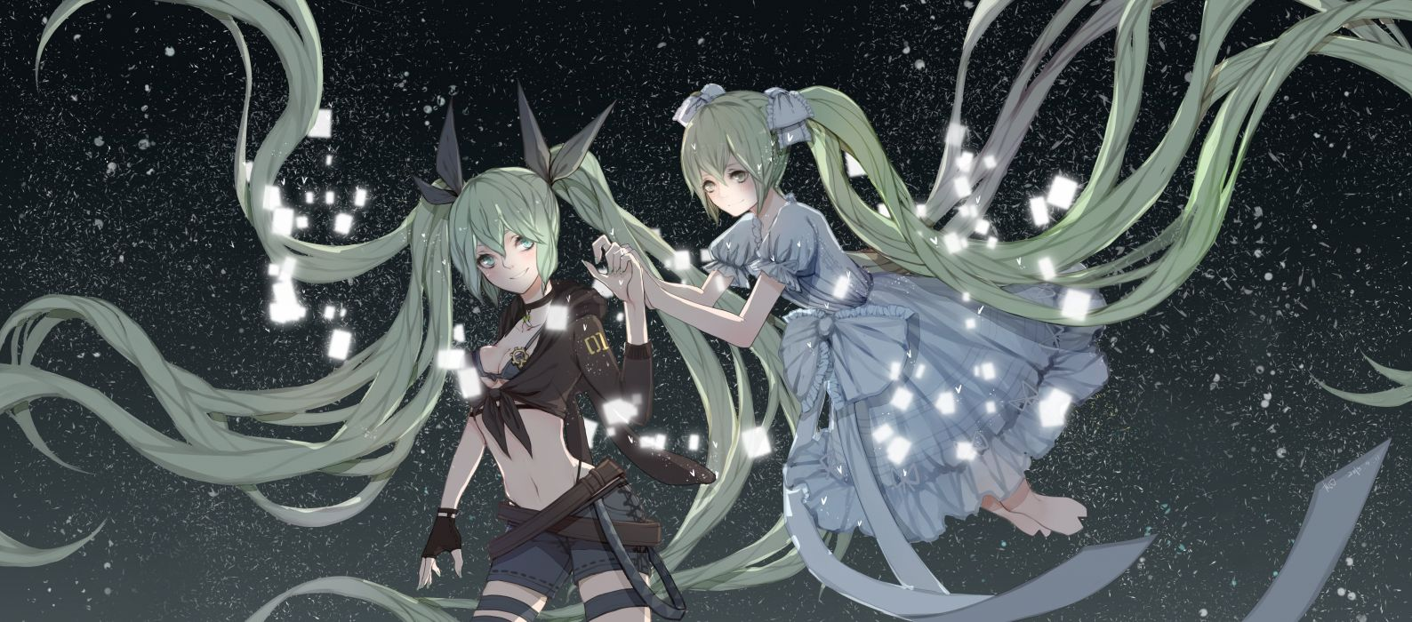 dualscreen gloves green eyes green hair hatsune miku long hair ribbons sky stars twintails vocaloid wallpaper