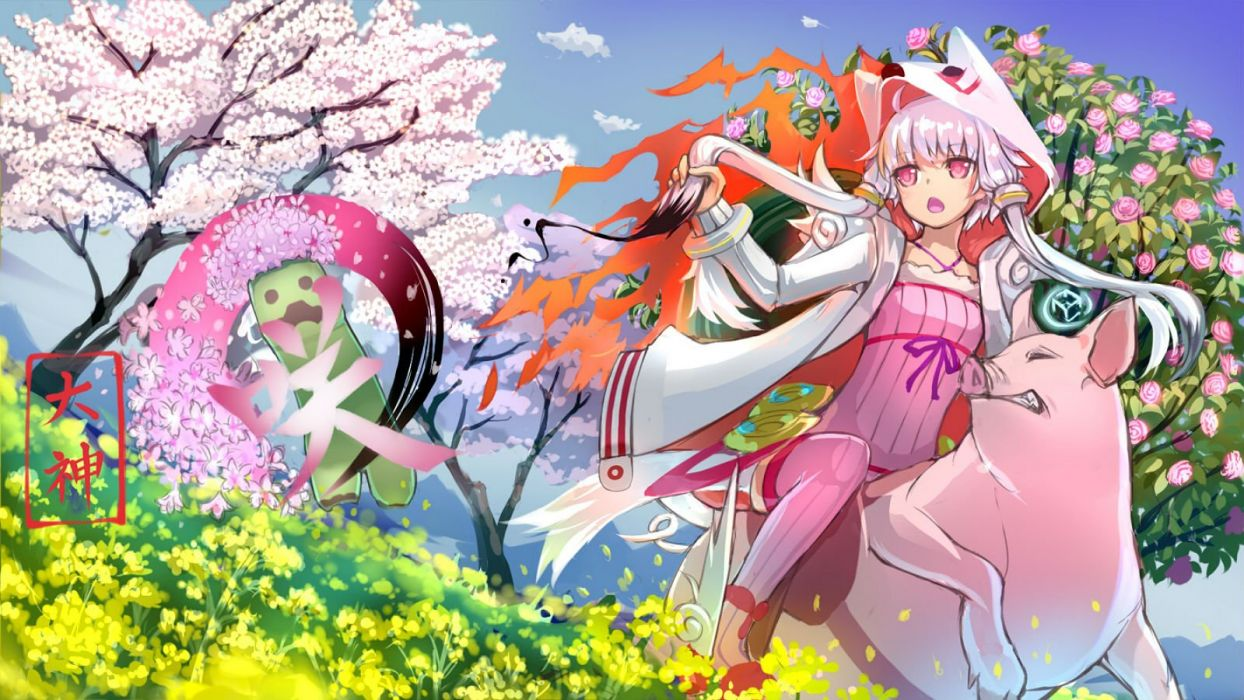 animal cape creeper flowers grass hoodie long hair minecraft okami pink eyes purple hair rose tree twintails vocaloid watermark yuzuki yukari wallpaper