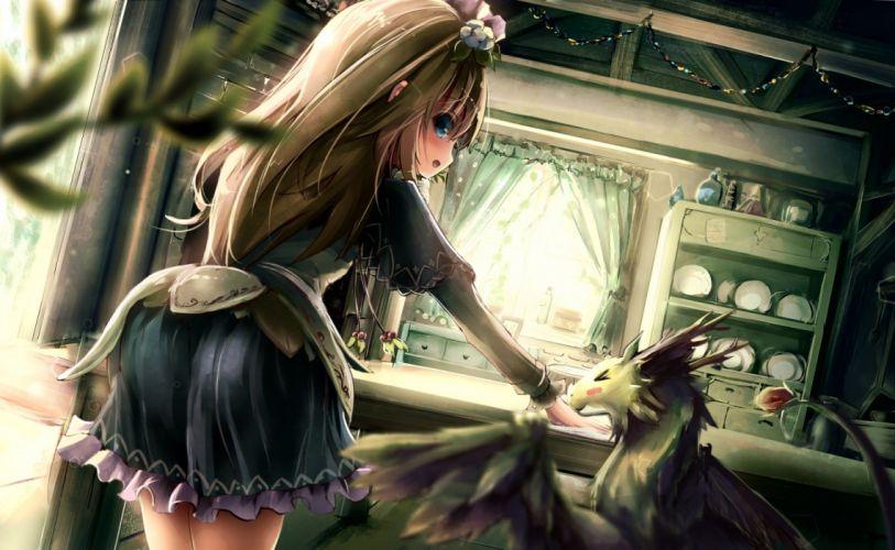 animal apple228 blue eyes brown hair dress headdress long hair original wallpaper