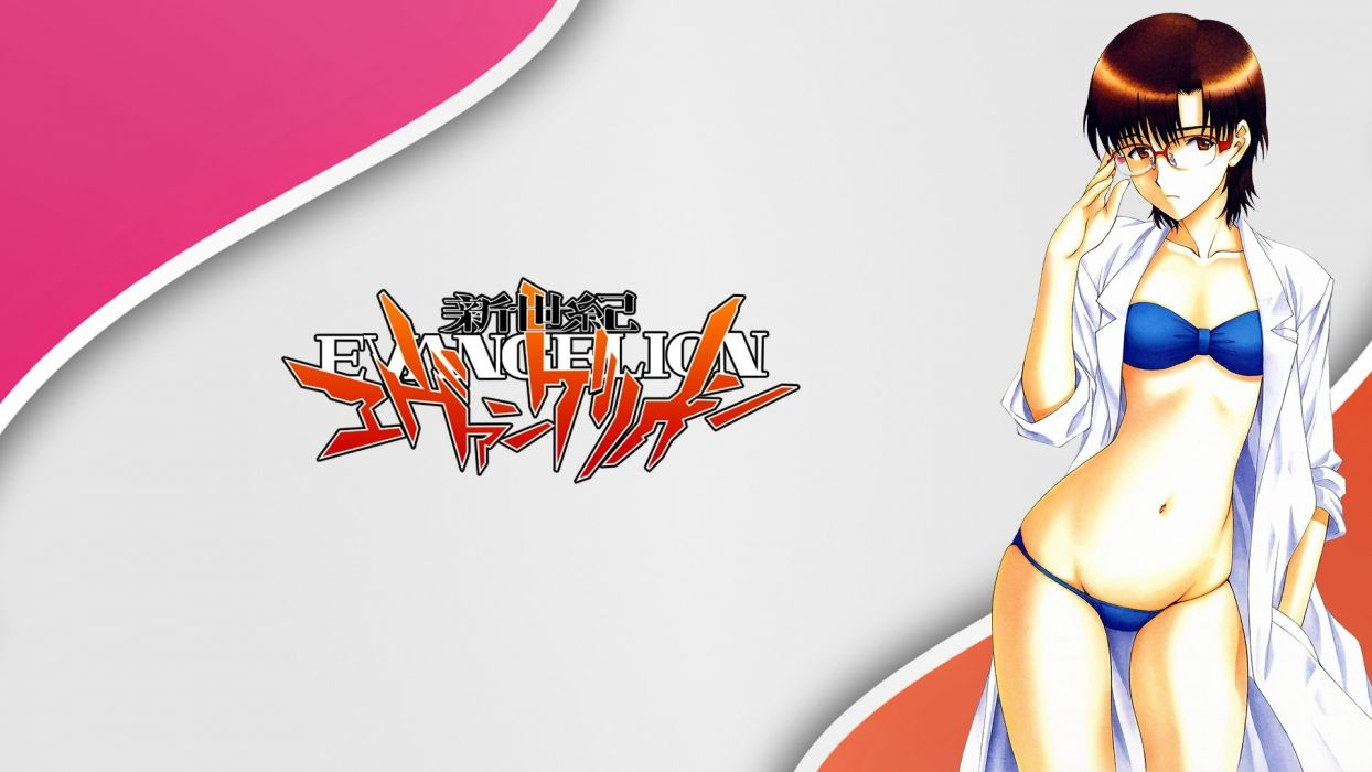 bikini brown eyes brown hair glasses ibuki maya logo neon genesis evangelion swimsuit wallpaper
