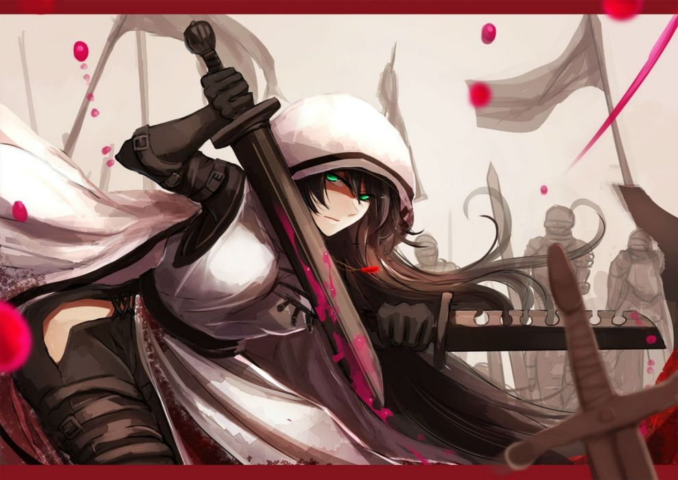 black hair blood cape gloves green eyes long hair pikori pixiv fantasia sword weapon wallpaper