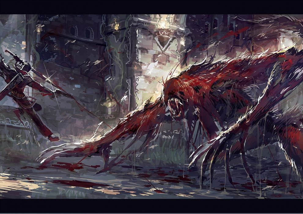 blood bloodborne demon mamuru sketch sword weapon wallpaper