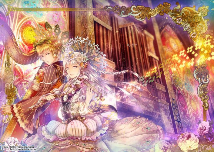 blonde hair dress flowers instrument long hair original radu rose violin watermark white hair wallpaper