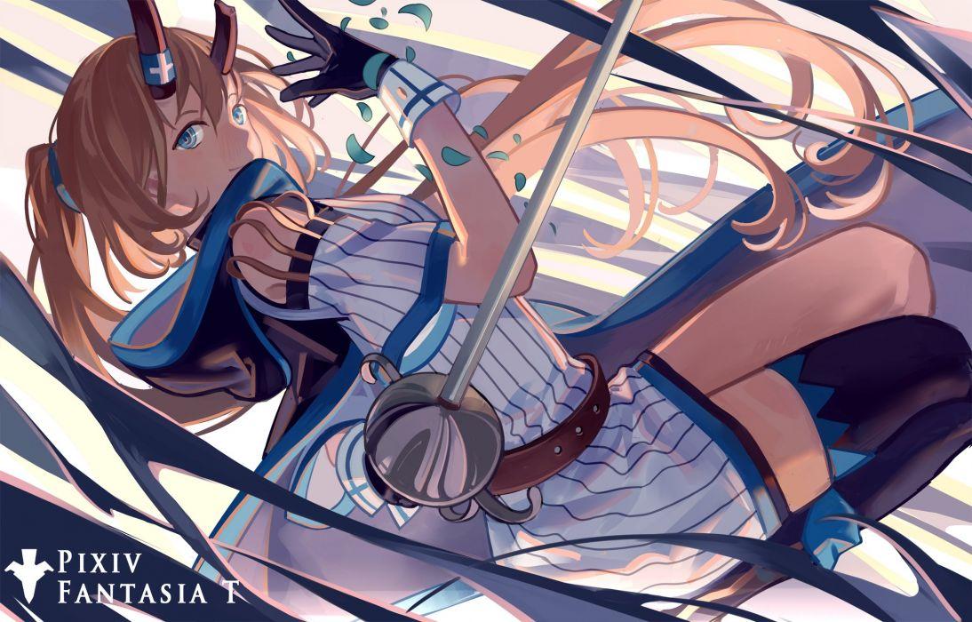 blue eyes brown hair dress gloves horns long hair pixiv fantasia ponytail thighhighs zicai tang wallpaper