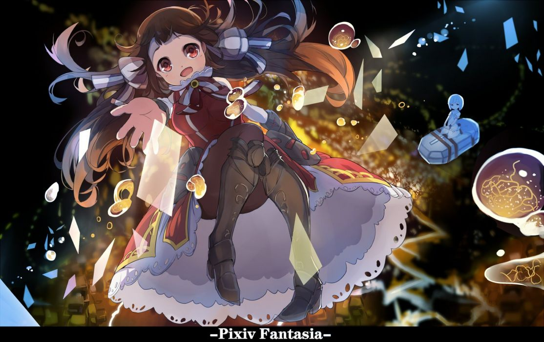 boots bow brown hair dress long hair pantyhose pixiv fantasia red eyes tagme (artist) wallpaper