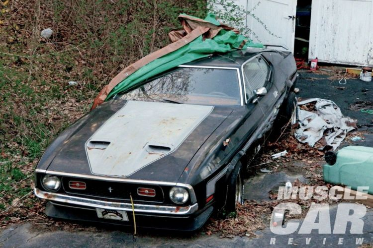 1971 Ford Mustang Mach-1 Junk Yard Rust Abandoned Muscle Classic Old USA 1500x1000-01 wallpaper