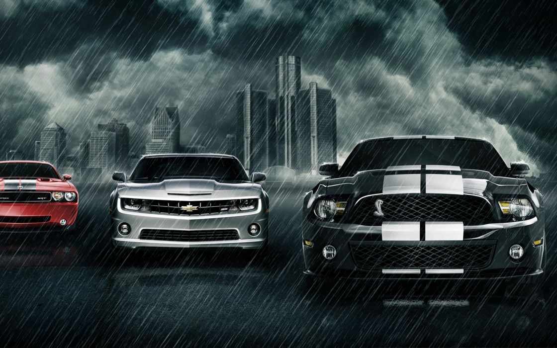 Muscle Cars-Wide Mustang Camaro Dodge USA 1920x1200-01 wallpaper