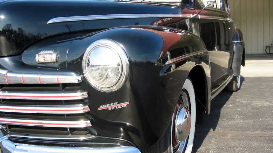 1946 Ford Deluxe Coupe Black Classic Old Vintage Retro Original USA 1600X900-03 wallpaper