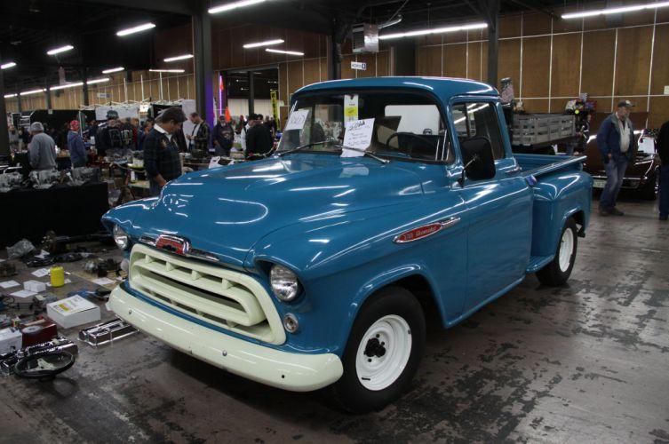 1957 Chevrolet 3100 Pickup Stepside Hotrod Hot Rod Custom Old School USA 4752x3156-01 wallpaper