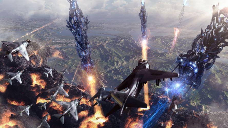 sci-fi battle fighting war art artwork warrior futuristic spaceship space wallpaper