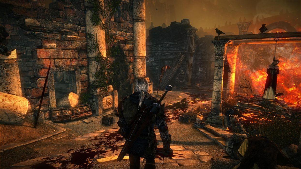 The Witcher 2 Assassins of Kings Geralt dead bodies blood fire crows ruins wallpaper