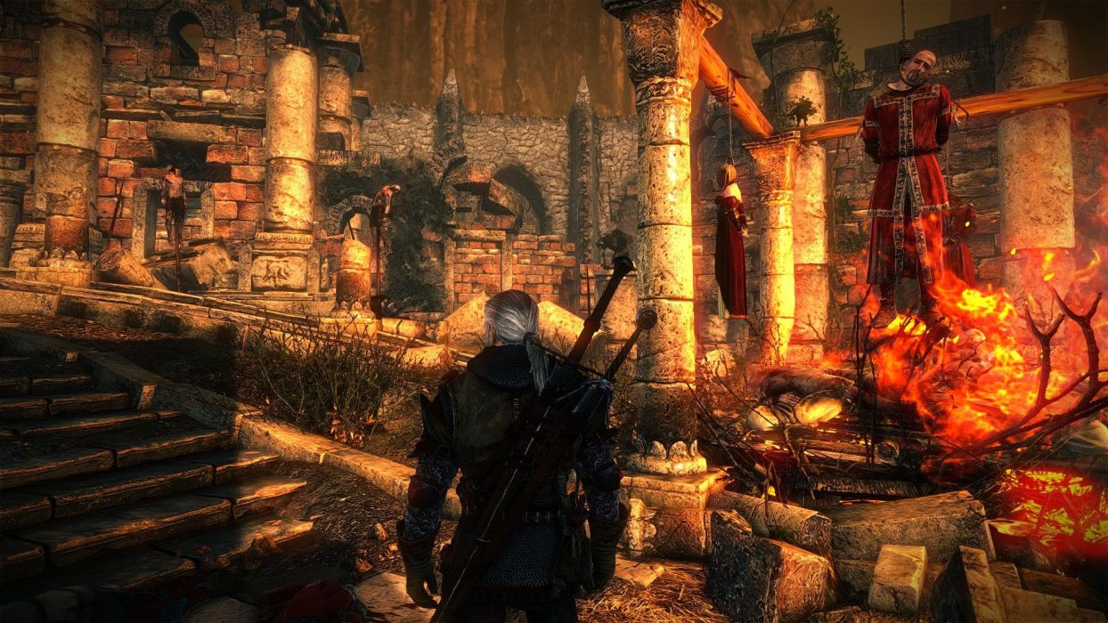 The Witcher 2 Assassins of Kings Geralt dead bodies fire ruins wallpaper