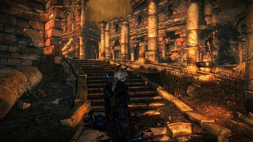 The Witcher 2 Assassins of Kings Geralt sword runes dead bodies ruins wallpaper