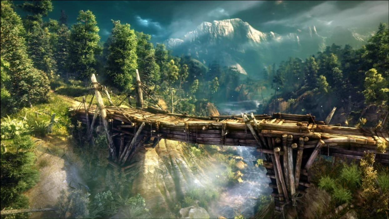 The Witcher 2 Assassins of Kings bridge river forest mountain wallpaper