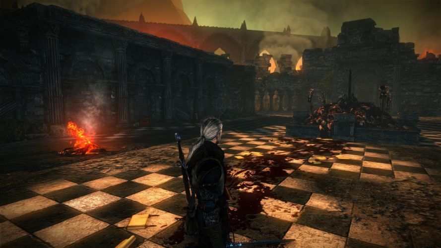 The Witcher 2 Assassins of Kings Geralt Letho dead bodies blood fire wallpaper
