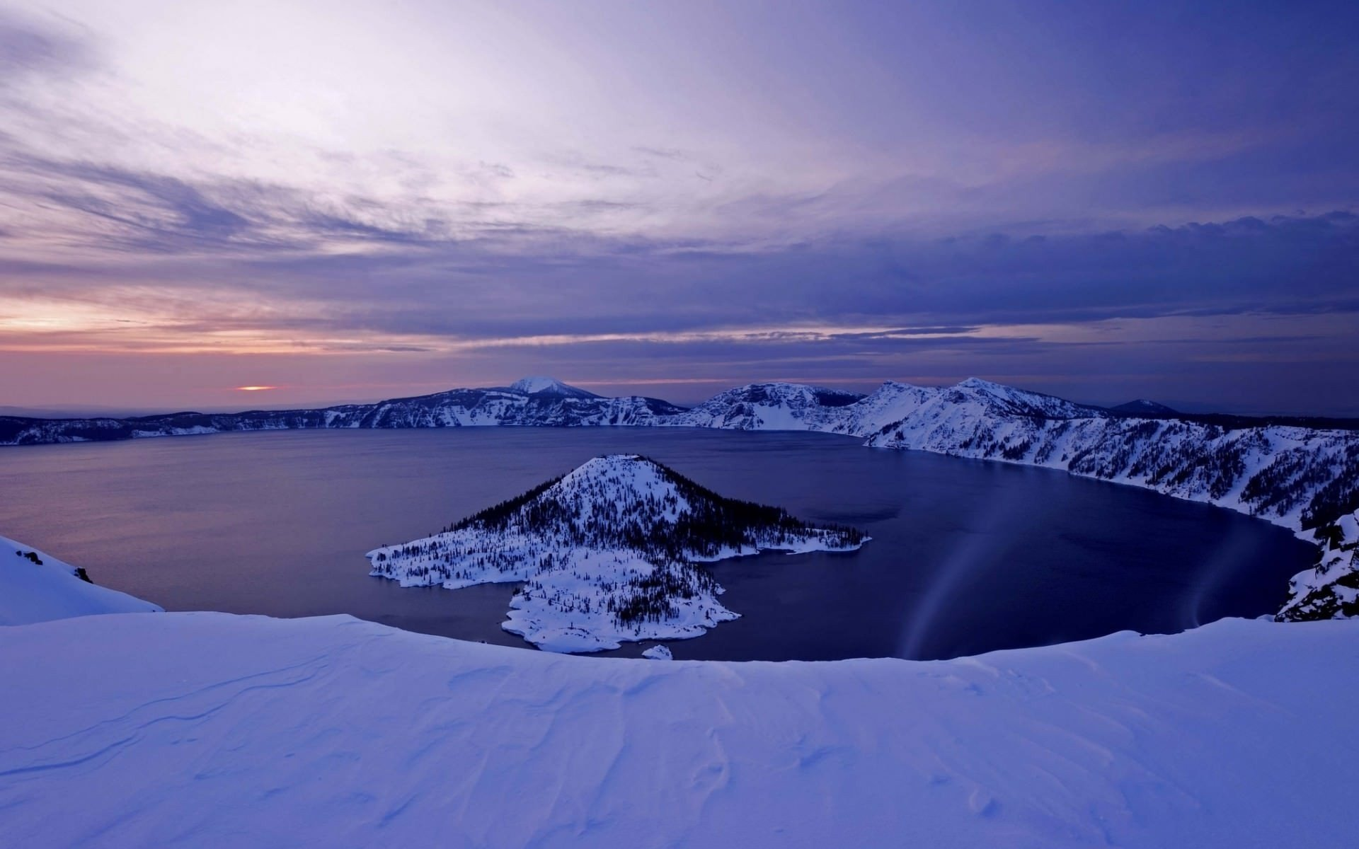 crater lake frozen winter volcano oregon wallpaper | 1920x1200