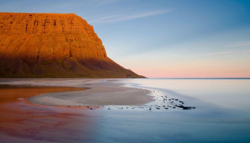 beach shore coast hill mountain ocean sea wallpaper
