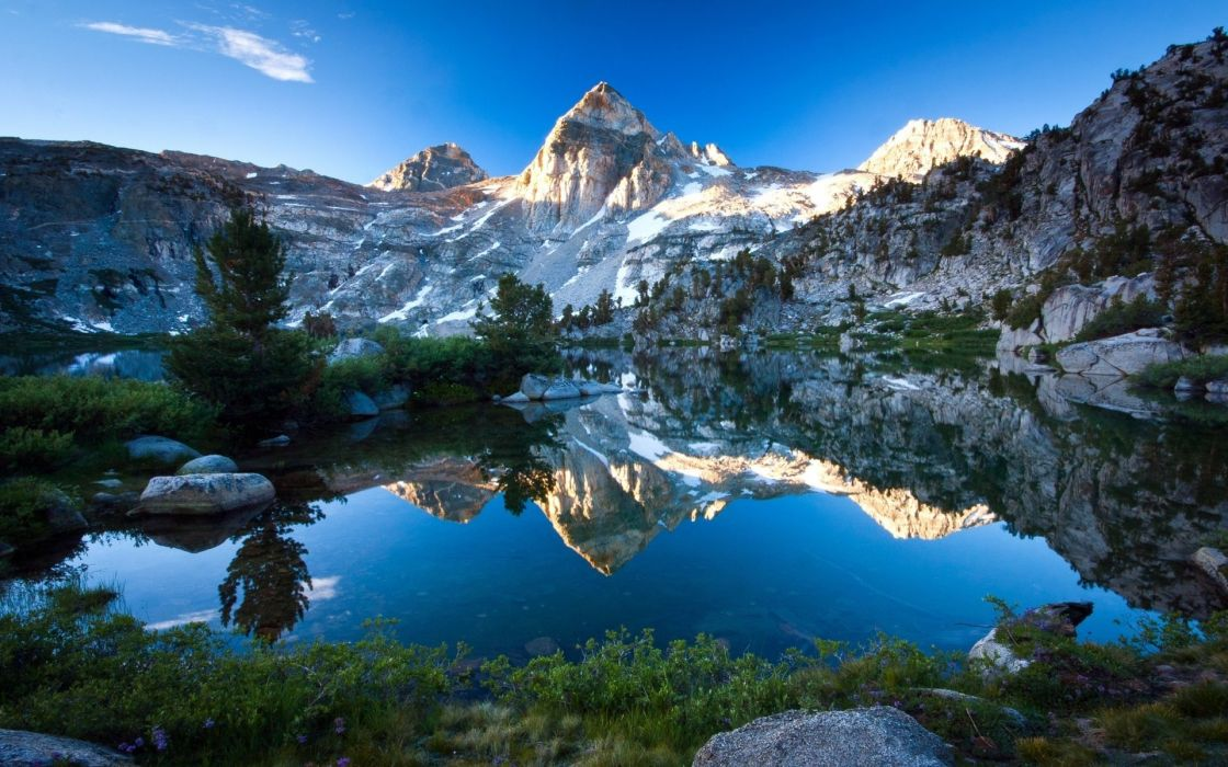 lake mountain tree forest water sky blue reflection wallpaper