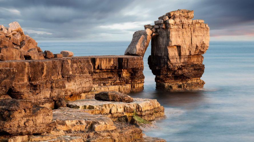 Landscape sky clouds sea rocks reef nature coast shore ocean wallpaper