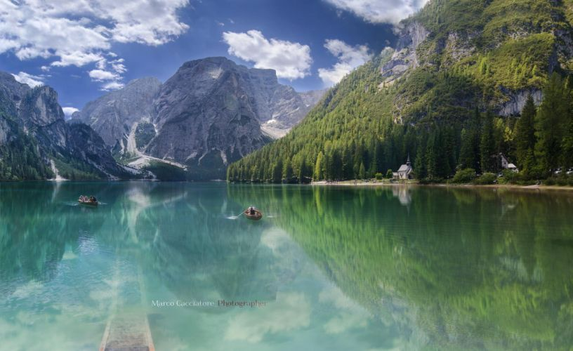 trees lake mountains forest nature wallpaper