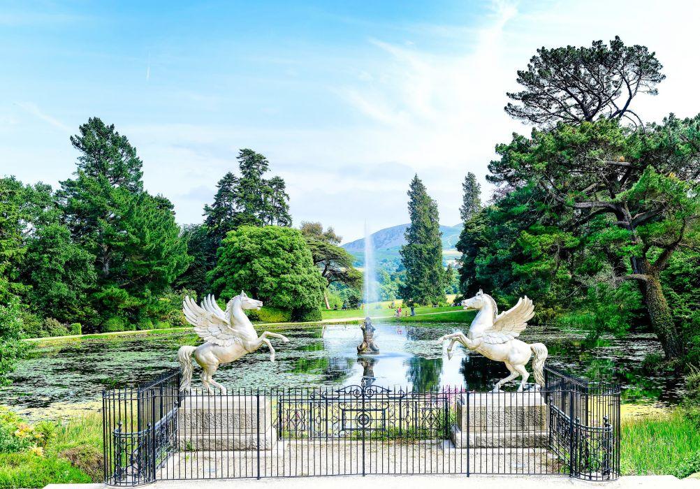 County Wicklow Park Ireland lake garden horse statue fountain wallpaper