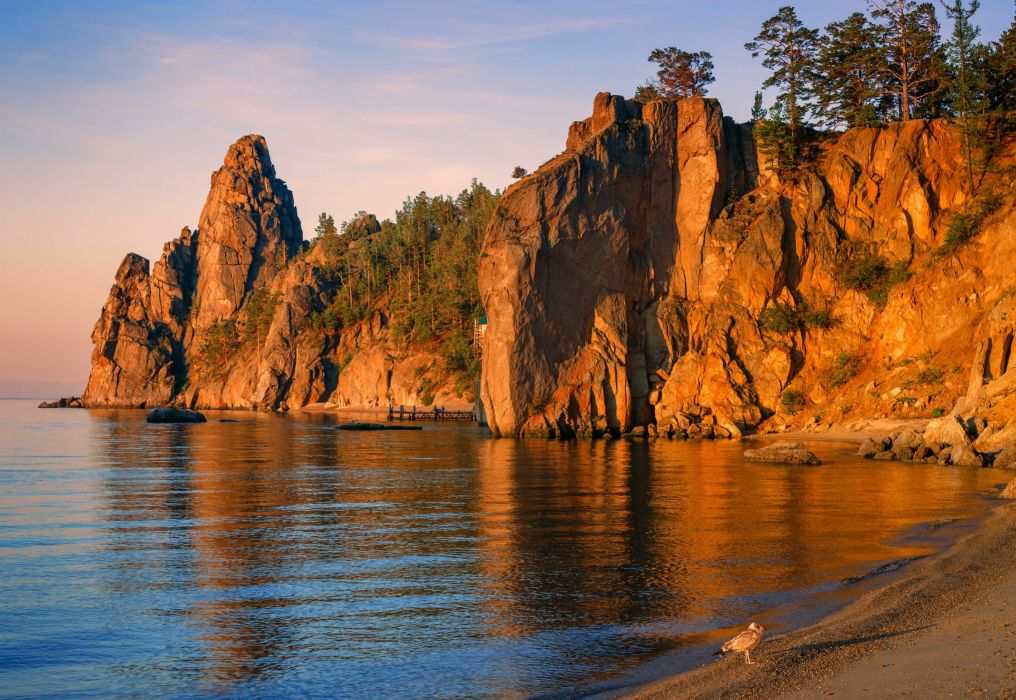 Lake Russia rocks beach shore wallpaper