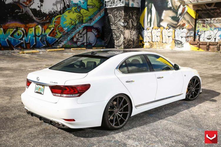 White Lexus LS 460 F-Sport vossen Wheels tuning wallpaper