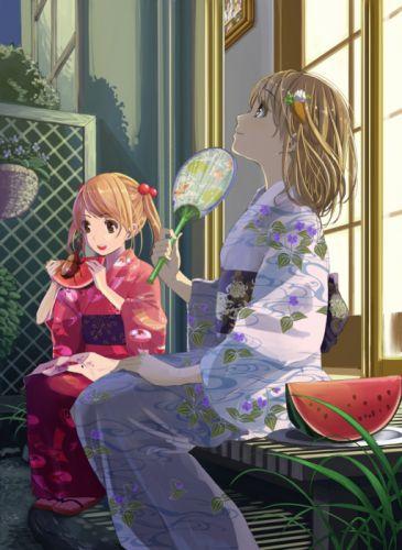 anime girls girl kimono fruits summer blonde wallpaper