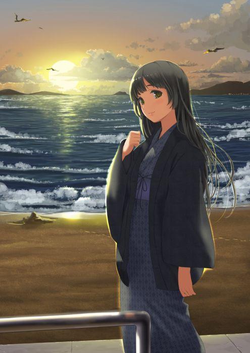 anime kimono sea sun long hair wallpaper