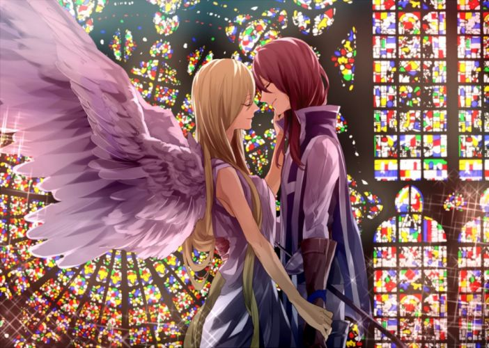 anime girl magic beauty beautiful couple wings love wallpaper