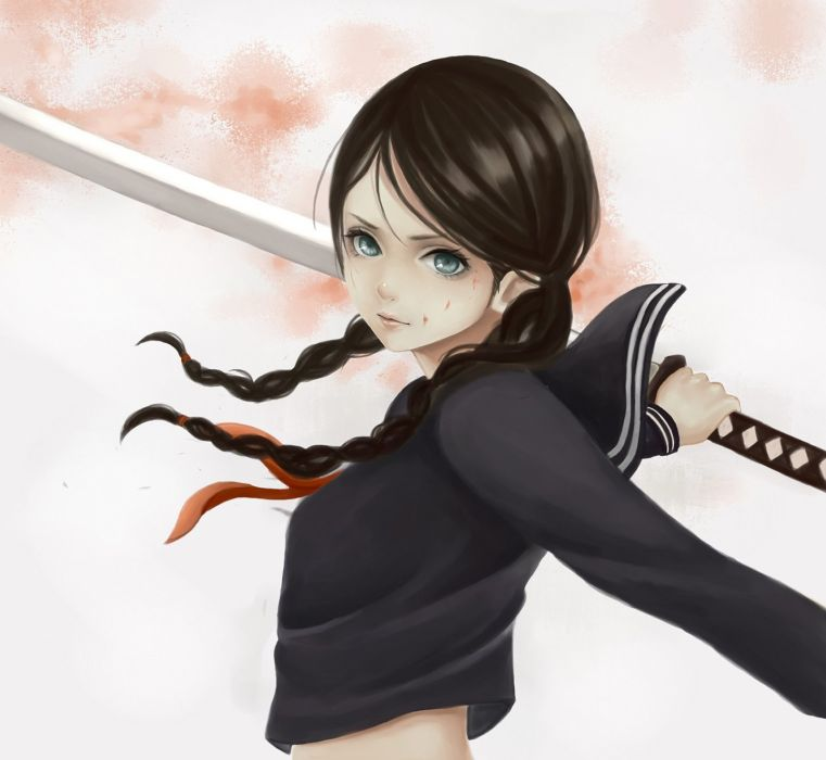anime girl sword long hair uniform school wallpaper