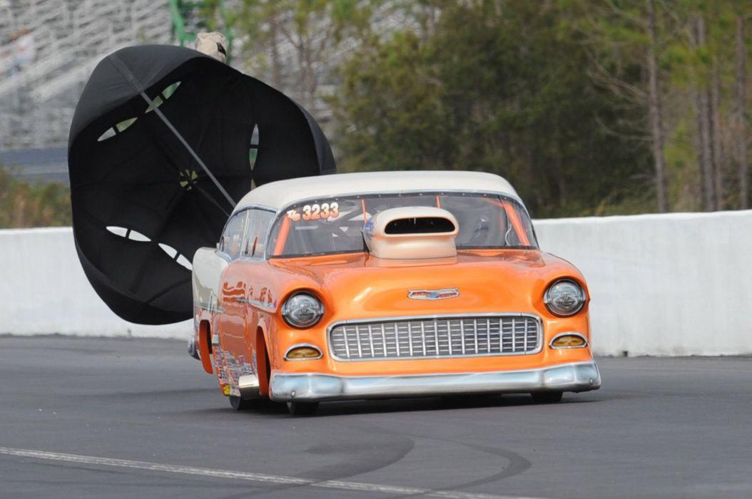 1955 Chevrolet Chevy Bel Air Drag Car Race Super Stock Parachute Usa
