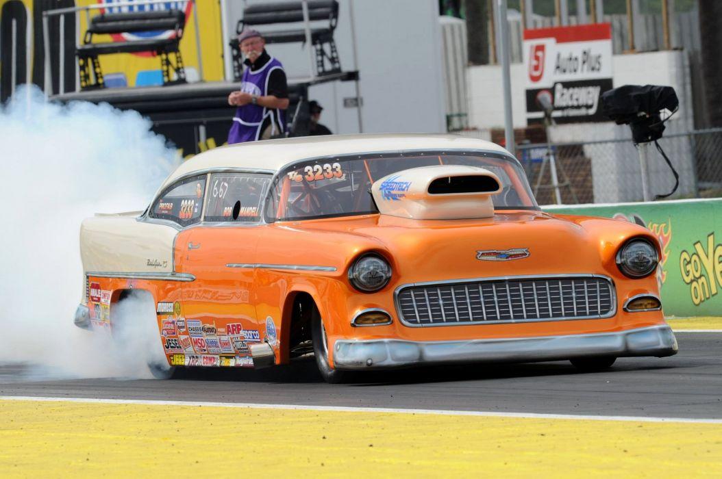 1955 Chevrolet Chevy Bel Air Drag Car Race Super Stock Burnout Usa