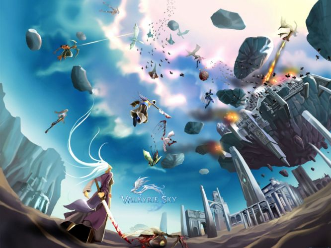 VALKYRIE SKY fantasy mmo rpg arcade online action fighting shooter sci-fi poster wallpaper