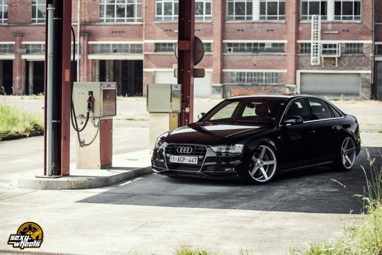 cars vossen Tuning wheels audi-a4 sedan black wallpaper