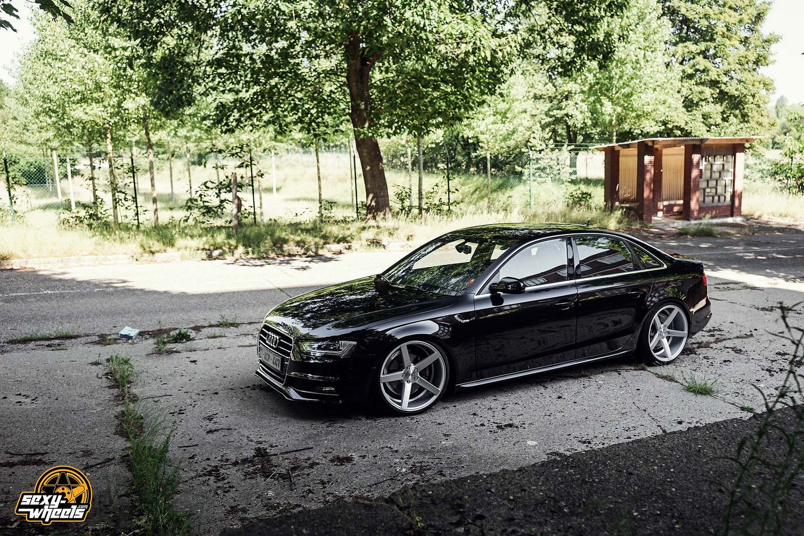 Cars Vossen Tuning Wheels Audi A4 Sedan Black Wallpaper