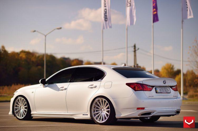 cars vossen Tuning wheels Lexus GS350 sedan white wallpaper
