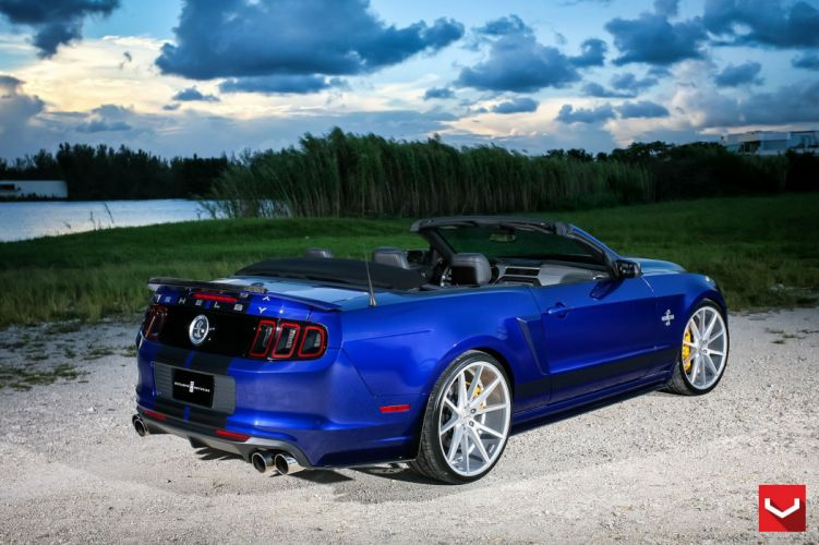 cars vossen Tuning wheels Ford Mustang shelby gt500 convertible blue wallpaper