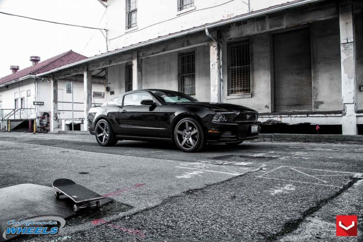 cars vossen Tuning wheels Ford Musatng black wallpaper